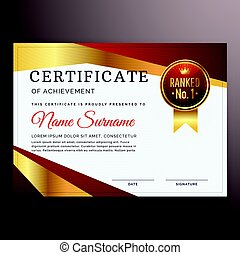 premium red certificate design template with golden strip