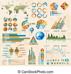 Premium Retro infographics master collection: graphs, histograms, arrows, chart, 3D globe, icons and a lot of related design elements.