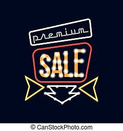 Premium sale neon sign, vintage bright glowing signboard, light banner vector Illustration