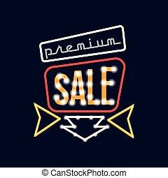 Premium sale neon sign, vintage bright glowing signboard, light banner vector Illustration