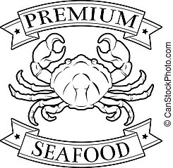 Premium seafood icon - Premium seafood food label featuring...