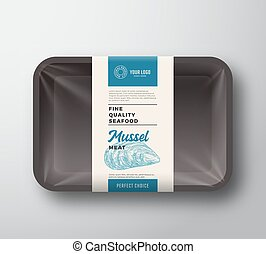 Premium Seafood Pack. Abstract Vector Plastic Tray Container...