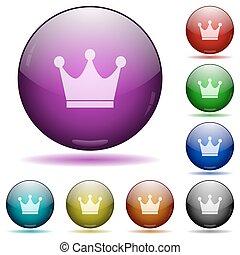 Premium services glass sphere buttons