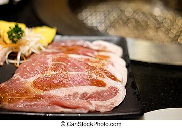 Premium slice raw pork meat for BBQ grill