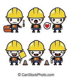 Premium Vector cute mascot construction design set