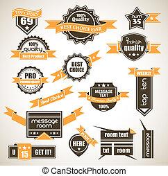 premium, vinhøst, top, etiketter, -, slogans:, samling, valg, valg, så, retro, adskillige, kvalitet, bi-colours, bedst, kvalitet