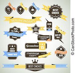premium, vinhøst, top, etiketter, -, slogans:, samling, valg, valg, så, retro, on., adskillige, kvalitet, bi-colours, bedst, kvalitet