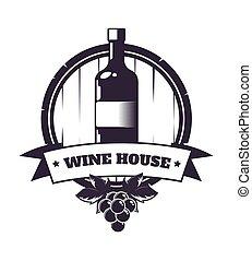 Premium wine club isolated monochrome emblem flat vector...