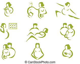 Prenatal and childbirth icon set, with human silhouettes