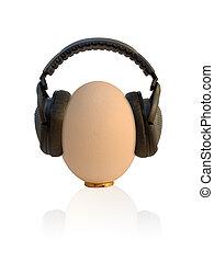 Prenatal Entertainment - sweaty egg with headphones on