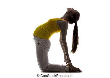 Prenatal Yoga, Camel Pose - Full length silhouette of young ...