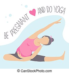 Prenatal Yoga. Pregnant woman doing exercise.
