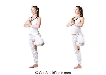 yoga vriksasana pose happy smiling athletic girl on white