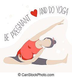 prenatale, donna, exercise., yoga., incinta
