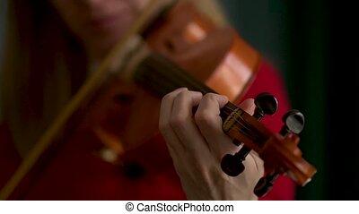 prend, fingerboard, corde, femme, violon, violiniste, main
