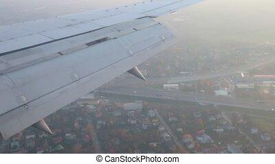 prend, voyage, vue, fenêtre., brumeux, weather., concept., avion, fermé.