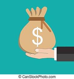 prendendo dinheiro, buisness, saco, homem, mão
