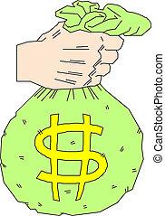 prendendo dinheiro, dólar, saco, mão