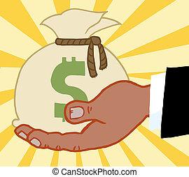 prendendo dinheiro, negócio, saco, mão