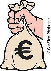 prendendo dinheiro, sign), saco mão, (euro