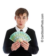 prendendo dinheiro, trabalhador, jovem, estudante, ou