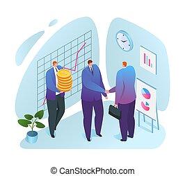 prendere, aiuto finanziario, illustration., affari, investment., uomo affari, lifebuoy., vettore, sostegno, sostegno, aiuto