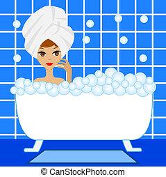 prendere, donna, giovane, schiuma, bagno