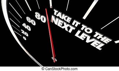 prendere, esso, a, livello prossimo, tachimetro, tasso, 3d, illustrazione