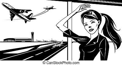 prendre, aéroport, fermé, avion, girl, onduler
