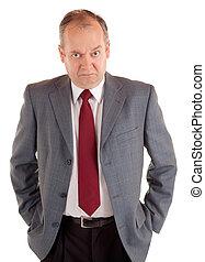 prendre air maussade, homme affaires, expression, sérieux
