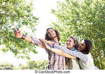 prendre, amis, selfie, heureux