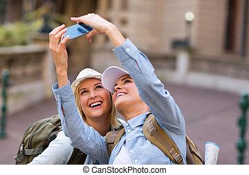 prendre, attraction, portrait, tourist's, amis, soi