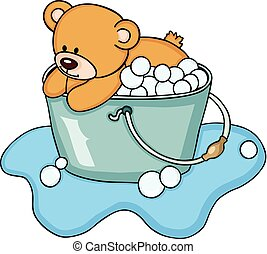prendre, bain, bulle, ours, teddy