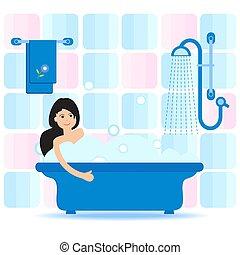 prendre, bath., bulle, girl, délassant