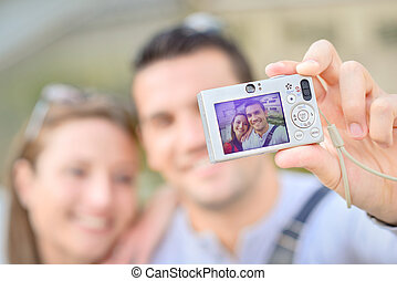 prendre, couple, selfie