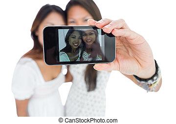 prendre, deux, asiatique, soeurs, portrait, sourire, soi