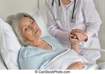 prendre, docteur, soin patient