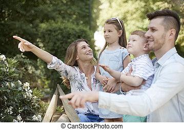 prendre, famille, zoo