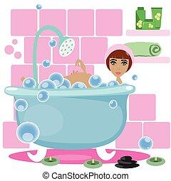 prendre, femme, bain
