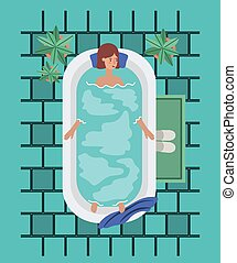 prendre, femme, baquet, bain