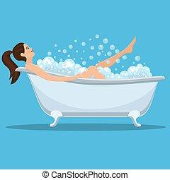 prendre, femme, bath.