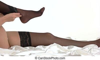 prendre, femme, fermé, stockings.