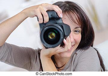 prendre, femme, photographie