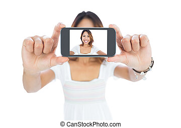 prendre, femme, selfie, asiatique, heureux