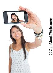 prendre, femme, selfie, asiatique, sourire