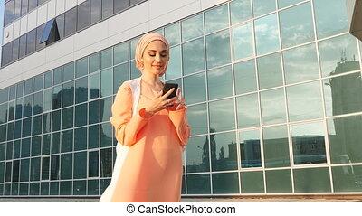 prendre, femme, selfie., musulman