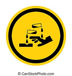 prendre garde, fond, substance, corrosif, illustration,...