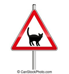 prendre garde, rue, prudence, chat, signe