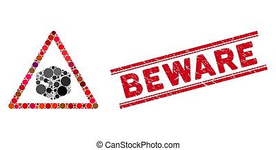 prendre garde, textured, mosaïque, paquet, icône, cachet, ligne, avertissement