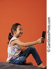prendre, girl, selfie, asiatique